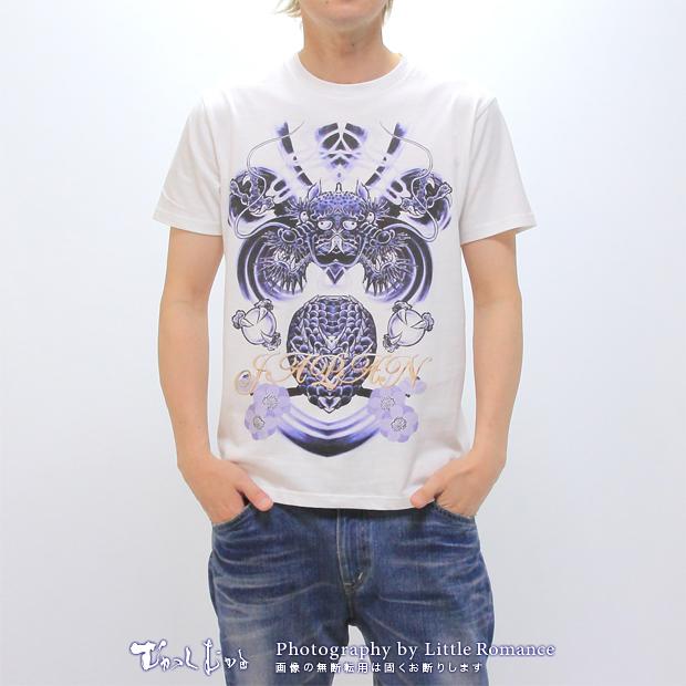 メンズ半袖Tシャツ,青双龍
