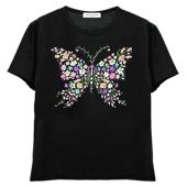 レディスTシャツ,半袖シルケット,蝶