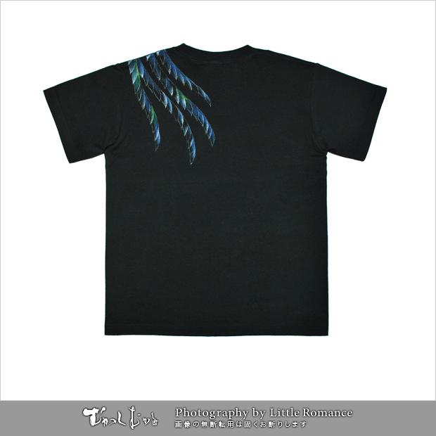 和柄メンズ手描友禅半袖Tシャツ,鳳凰
