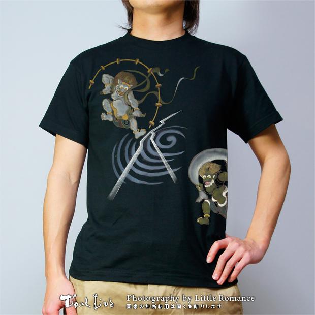 和柄メンズ手描友禅半袖Tシャツ,風神雷神