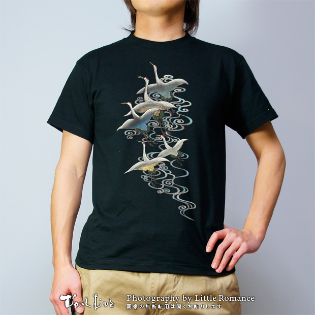 和柄メンズ手描友禅半袖Tシャツ,鶴