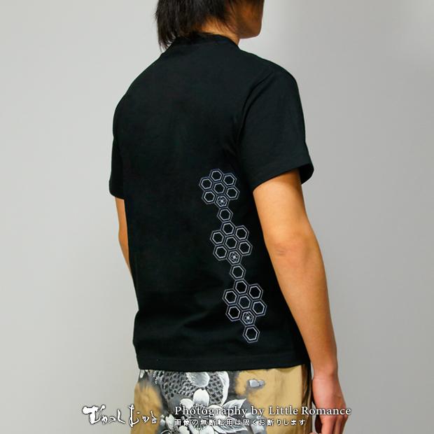 メンズ和柄半袖Tシャツ,六角文様