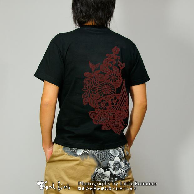 メンズ和柄半袖Tシャツ,紅型文様