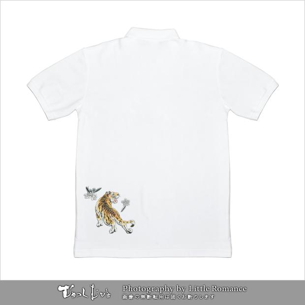 和柄メンズポロシャツ,桃虎