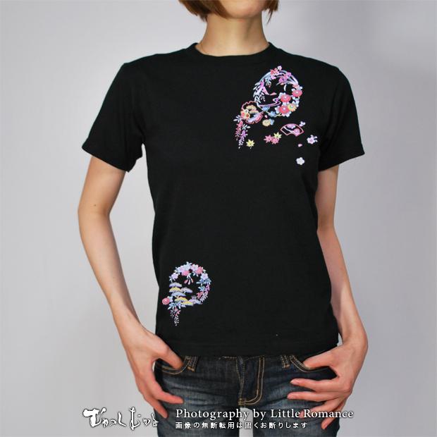 和柄レディス半袖Tシャツ,花丸文様