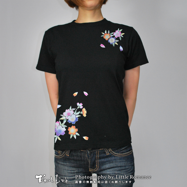 和柄レディス半袖Tシャツ,桜