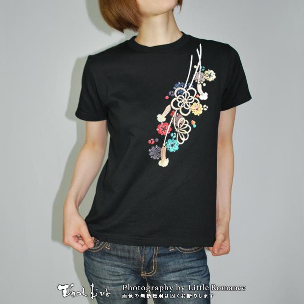 和柄レディス半袖Tシャツ,梅組紐