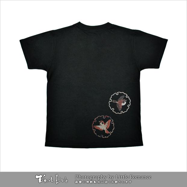 和柄レディス半袖Tシャツ,すずめ