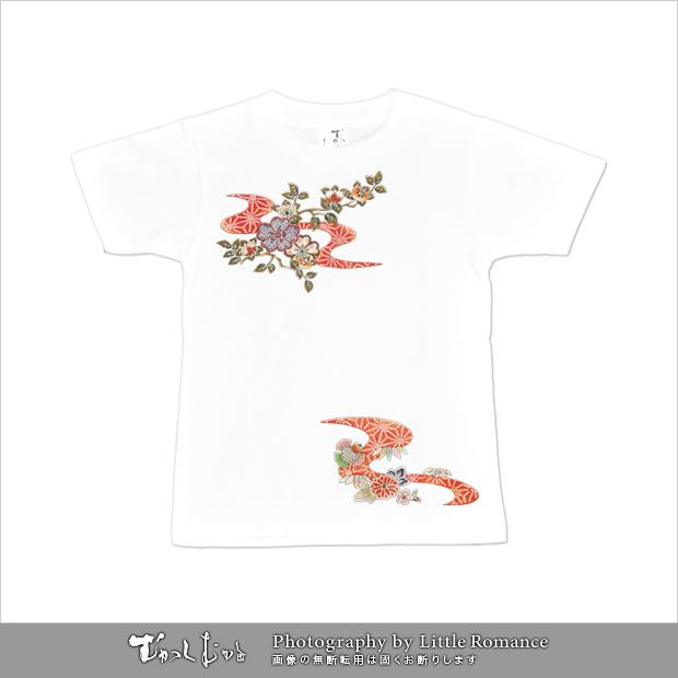 和柄レディス半袖Tシャツ,橘紅流水