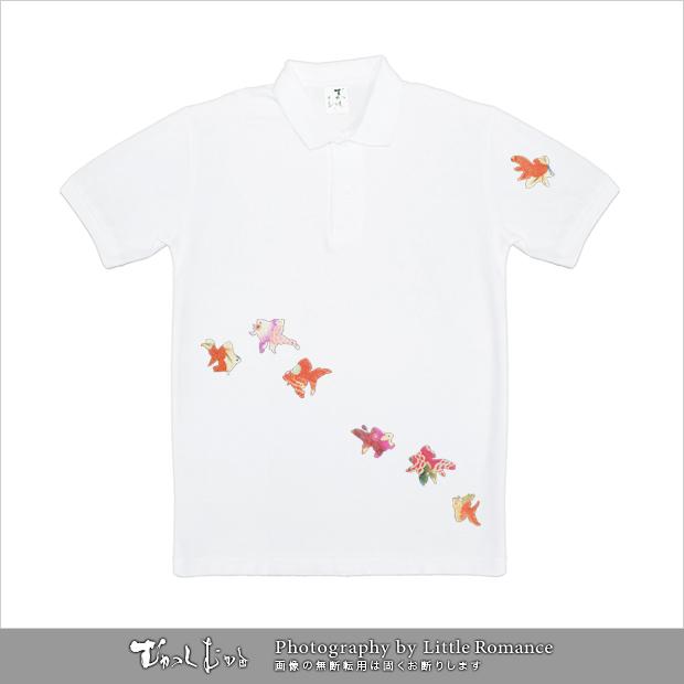 和柄メンズポロシャツ,七匹金魚