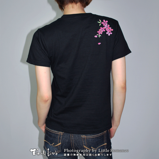 和柄レディス半袖Tシャツ,桃桜