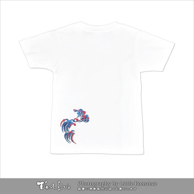 和柄レディス半袖Tシャツ,登鯉(赤黒)
