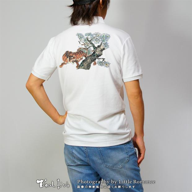 和柄メンズポロシャツ,松虎