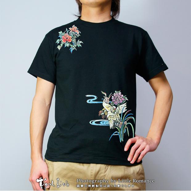 メンズ和柄半袖Tシャツ,鶴牡丹