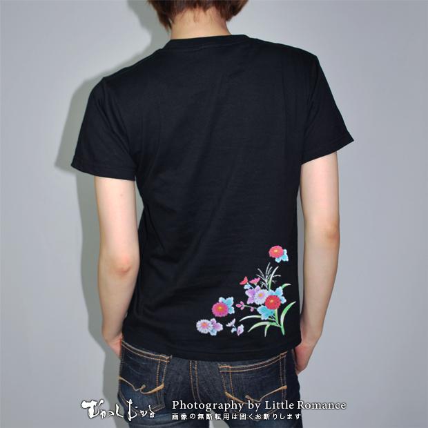 和柄レディス半袖Tシャツ,野花