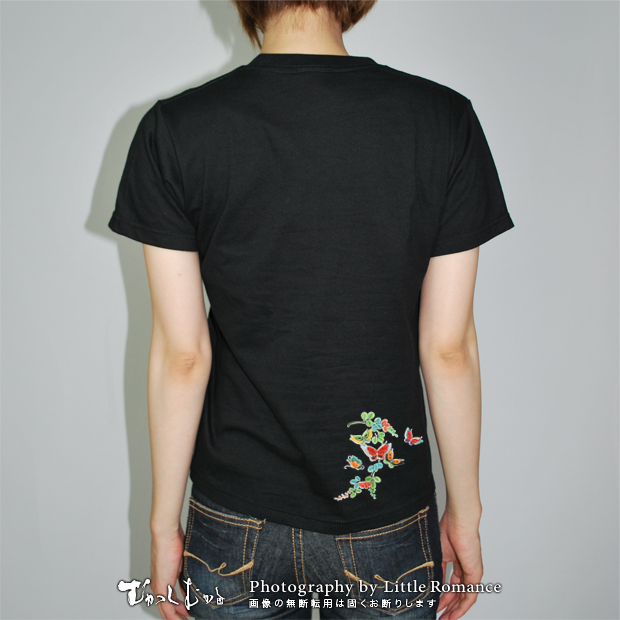 和柄レディス半袖Tシャツ,丸絞蝶