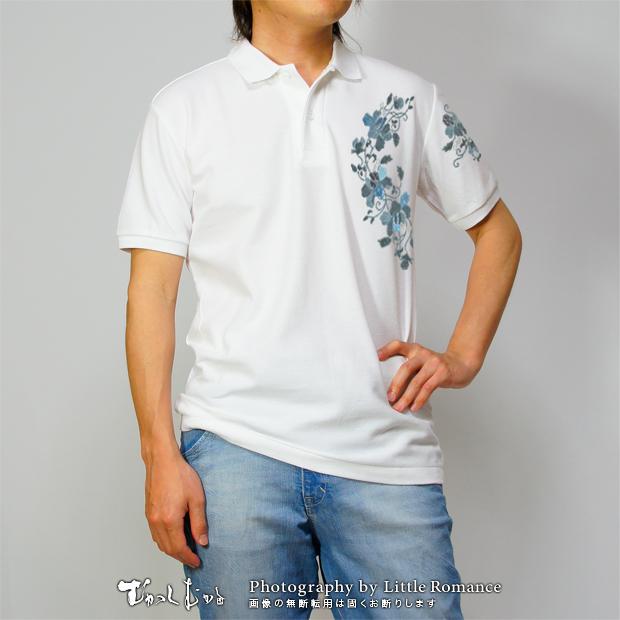 和柄メンズポロシャツ,唐草