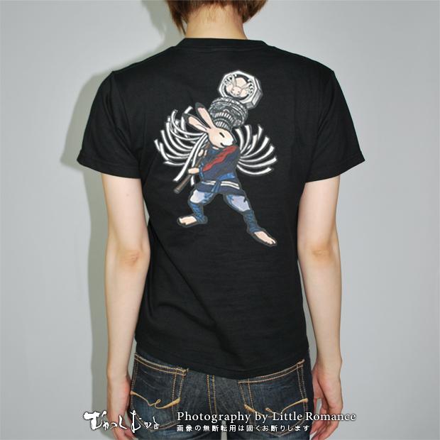 和柄レディス半袖Tシャツ,火消兎