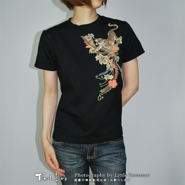和柄レディス半袖Tシャツ,花虎