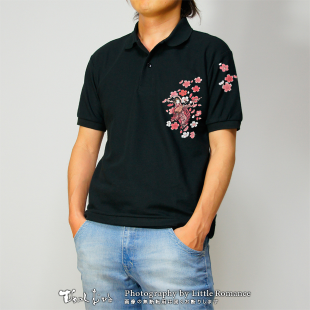 和柄メンズポロシャツ,弁財天