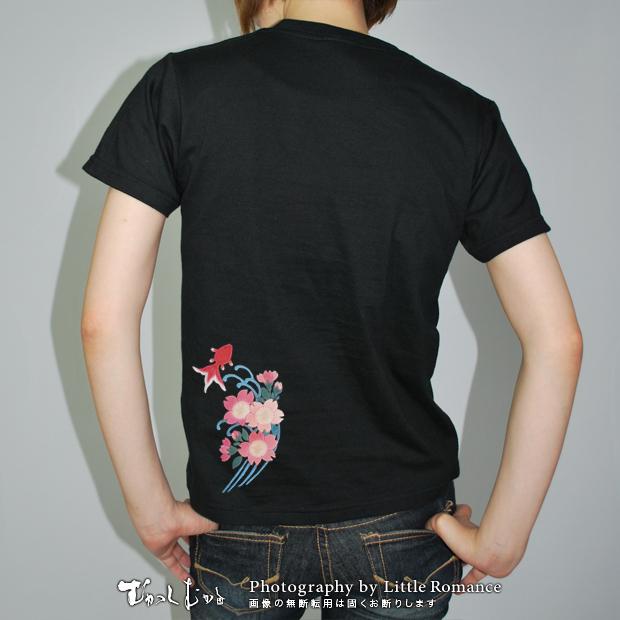 和柄レディス半袖Tシャツ,流水桜金魚
