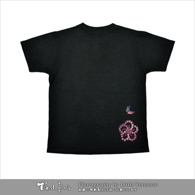 和柄レディス半袖Tシャツ,小花小蝶