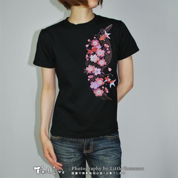 和柄レディス半袖Tシャツ,寒桜