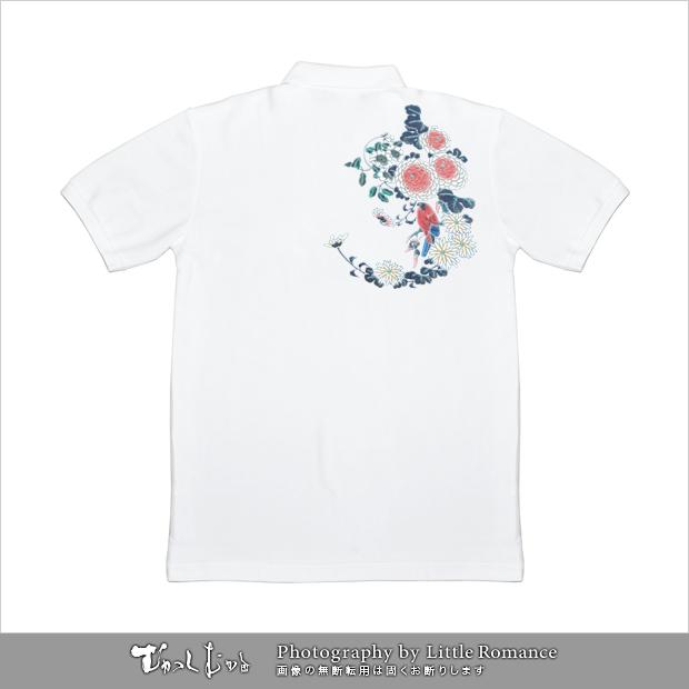 和柄メンズポロシャツ,花鳥文様