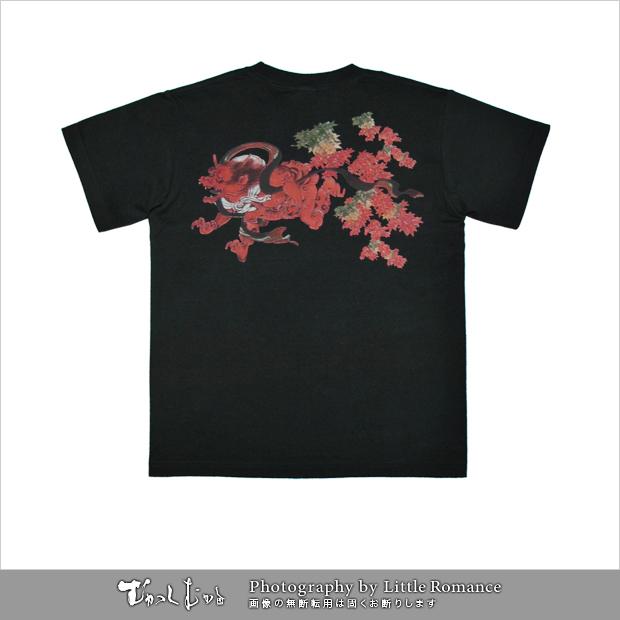 メンズ和柄半袖Tシャツ,鬼紅葉