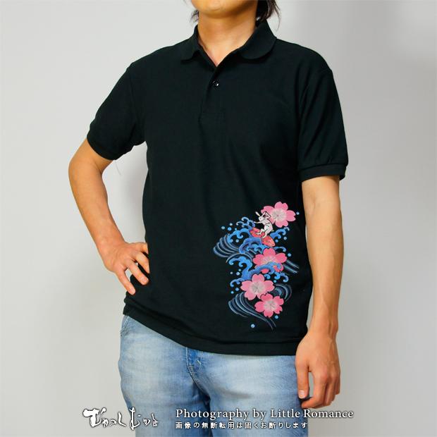 和柄メンズポロシャツ,桃桜波兎