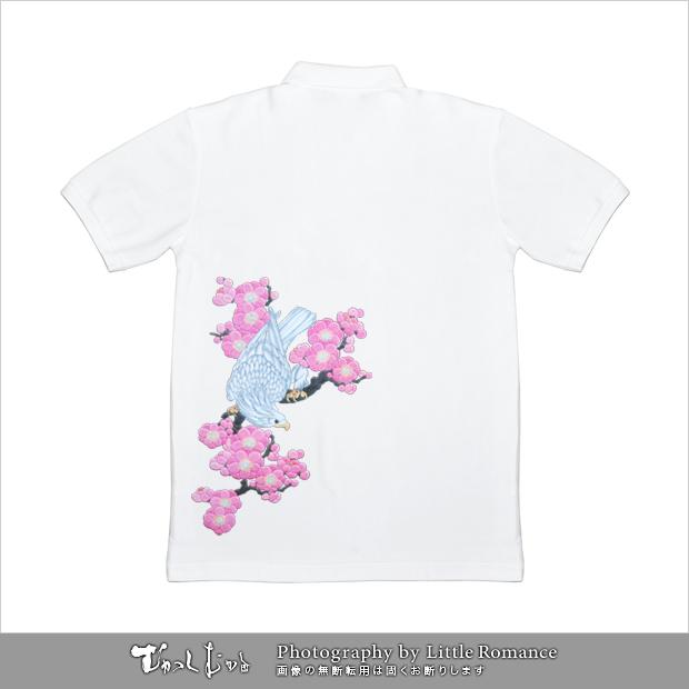 和柄メンズポロシャツ,白鷹梅