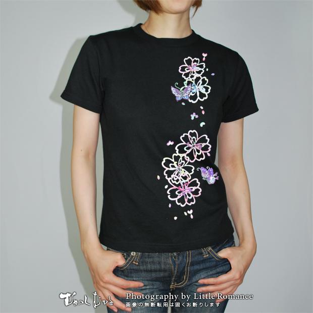和柄レディス半袖Tシャツ,抜桜