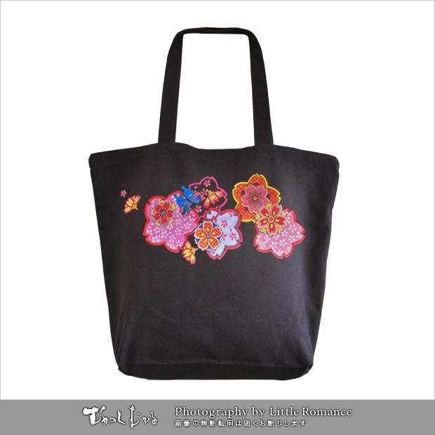 和柄トートバッグ,桜紋蝶