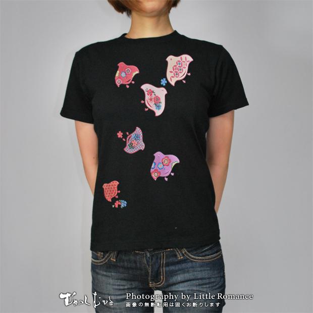 和柄レディス半袖Tシャツ,花千鳥