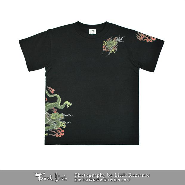 メンズ和柄半袖Tシャツ,スカルドラゴン