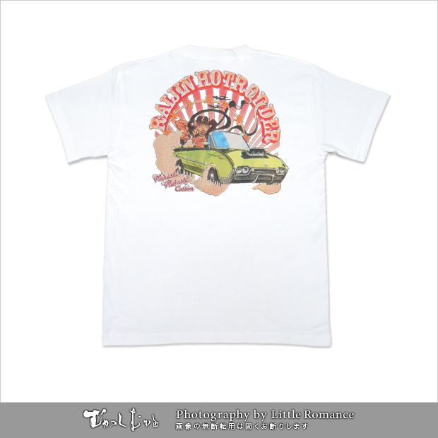 メンズ和柄半袖Tシャツ,雷神ロッダー