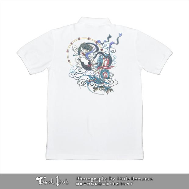 和柄メンズポロシャツ,雷神VS龍神