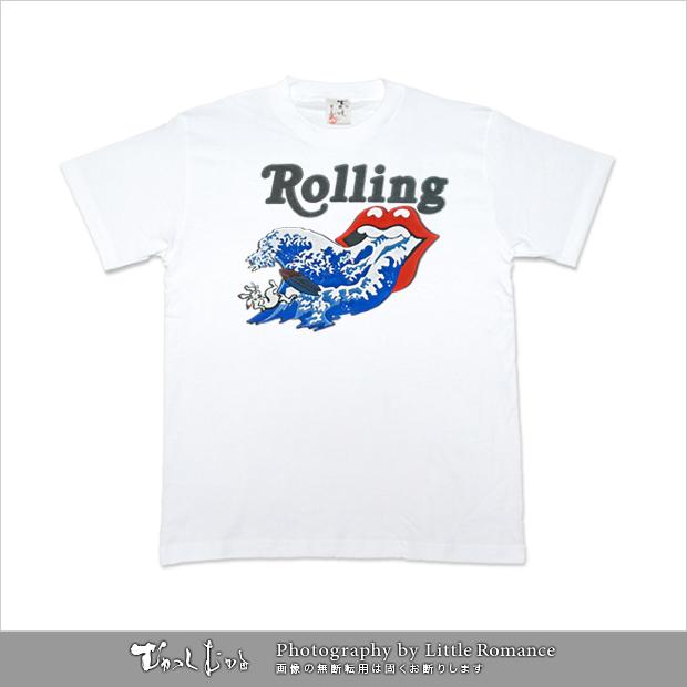 メンズ和柄半袖Tシャツ,ローリングウェーブス