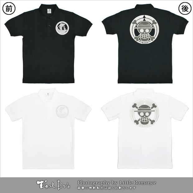 和柄メンズポロシャツ,onepiece,ワンピース,家紋海賊旗