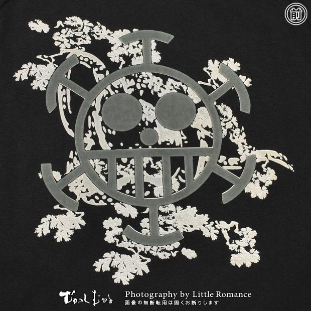 むかしむかし★ワンピースコレクション メンズ半袖Tシャツ 蛇柄ハートの海賊旗