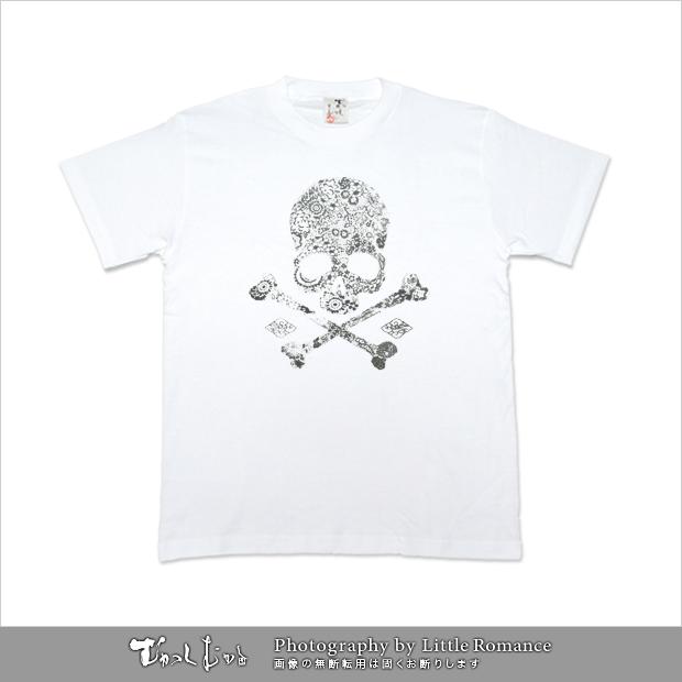 和柄メンズ半袖Tシャツ,櫻模様髑髏