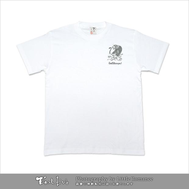 メンズ和柄半袖Tシャツ,黒虎スカル
