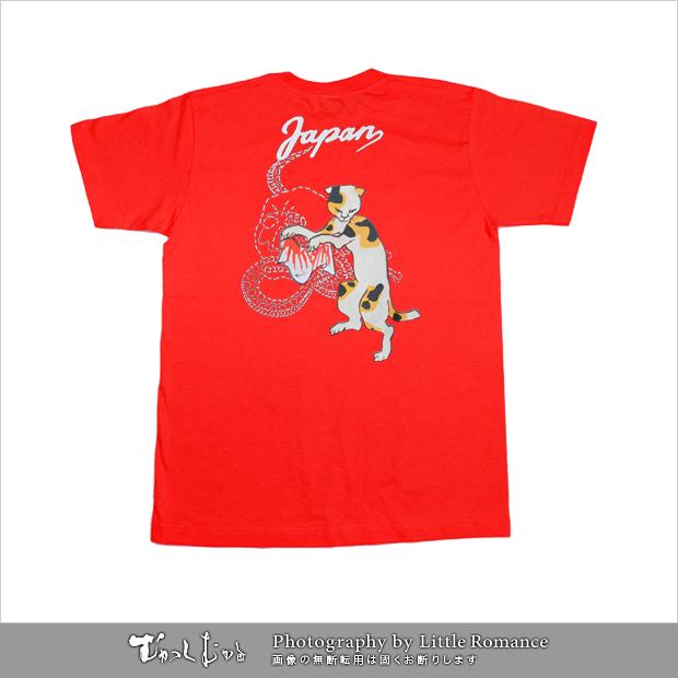 メンズ和柄半袖Tシャツ,踊り猫スカル