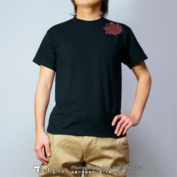 メンズ和柄半袖Tシャツ,平家華蝶紋