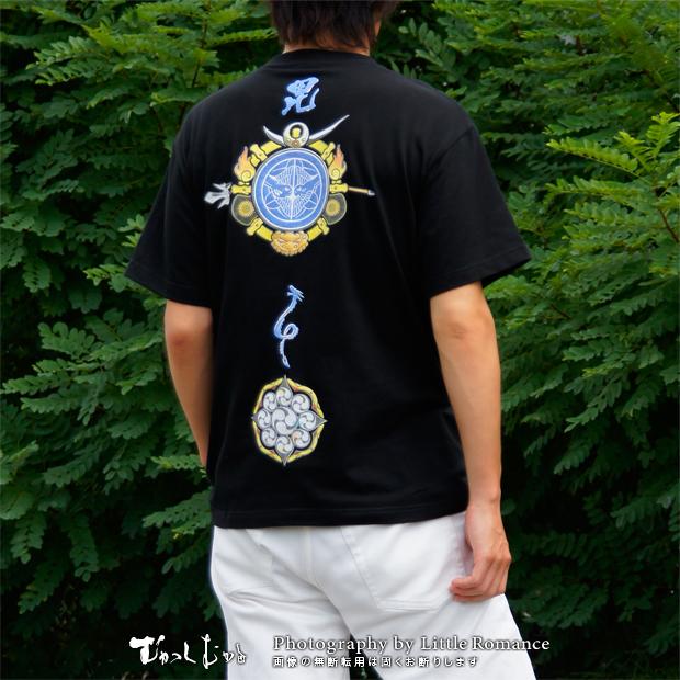 メンズ和柄半袖Tシャツ,軍神上杉家紋