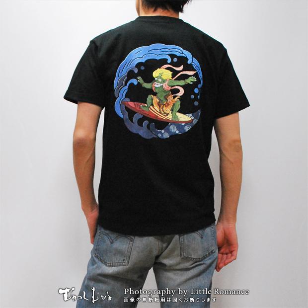 メンズ和柄半袖Tシャツ,波乗り風神