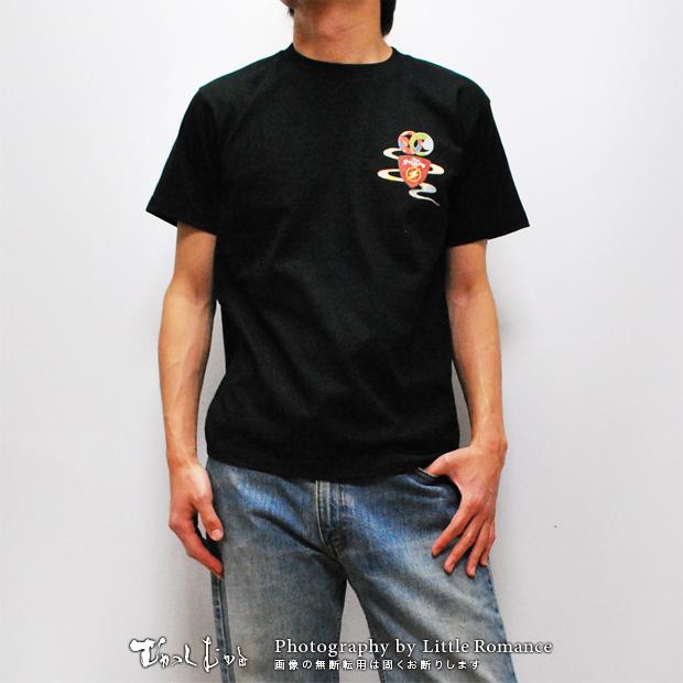 メンズ和柄半袖Tシャツ,ギター雷神