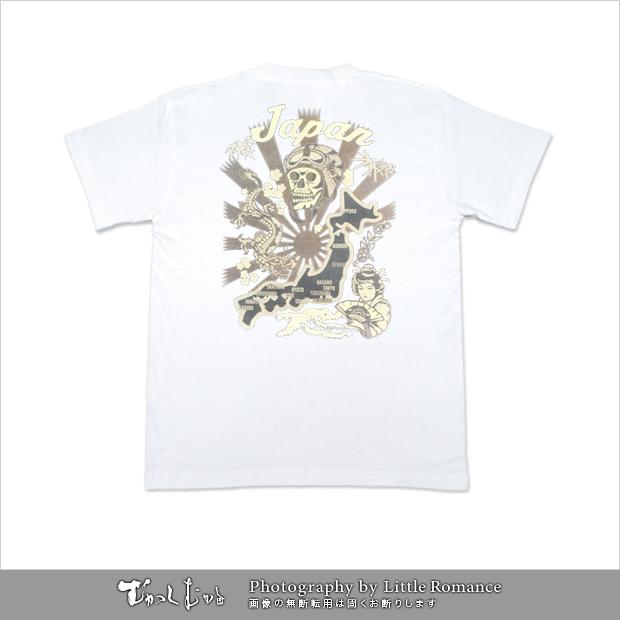 メンズ和柄半袖Tシャツ,ドクロ日本地図