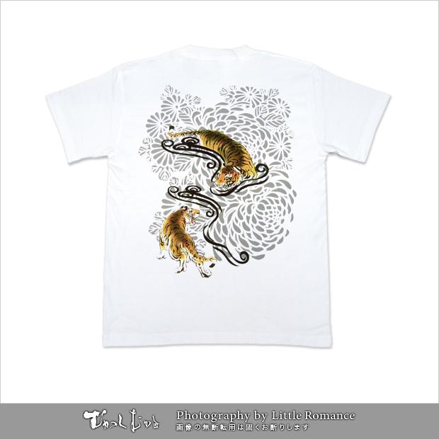 メンズ和柄半袖Tシャツ,菊虎