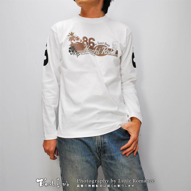 和柄メンズ長袖Tシャツ,ハチロクビーチ